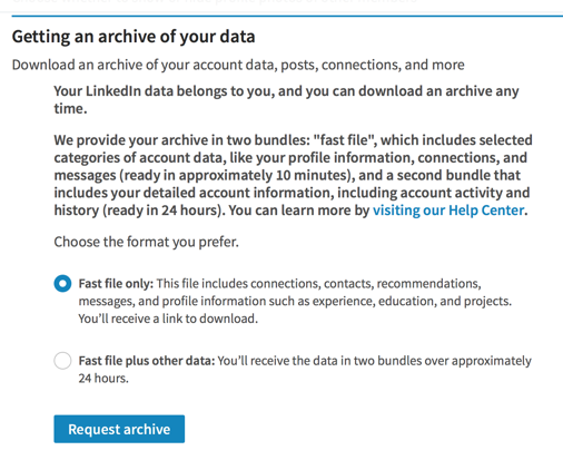 exporting LinkedIn connections